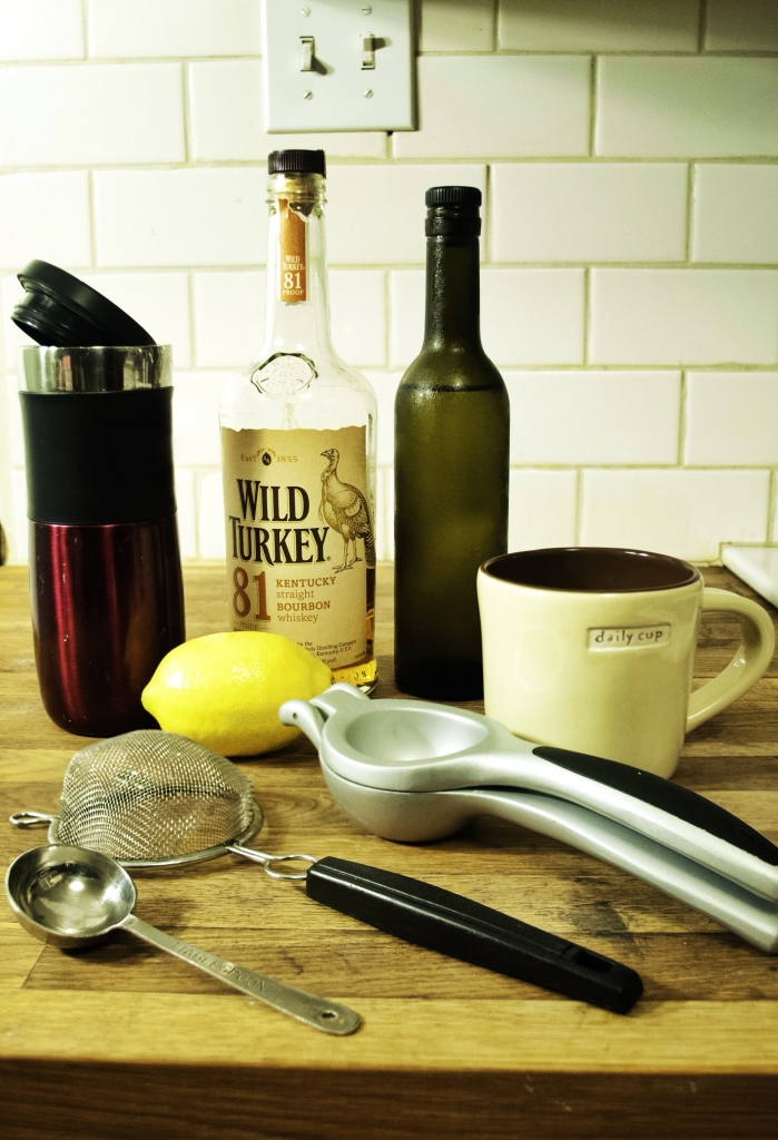 The ingredients for a whiskey sour